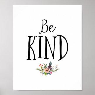 Minimal and Modern Be Kind Nursery Poster