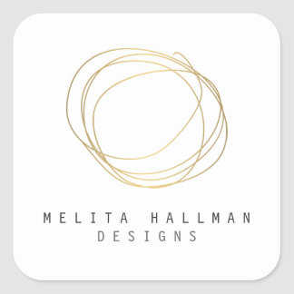 Minimal and Modern Designer Scribble Logo in Gold Square Sticker