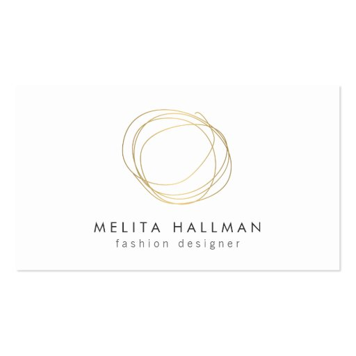 Minimal and Modern Gold Designer Scribble Logo II Business Card Templates