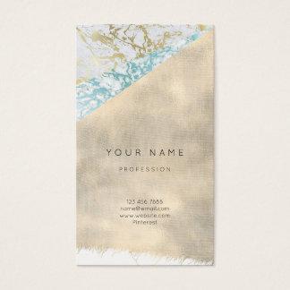 Minimal Aquatic Blue Gray Marble Gold Linen Burlap Business Card