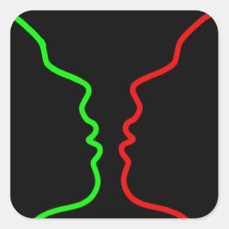 Minimal Art - Sensual MISS, Lets have a KISS Square Sticker