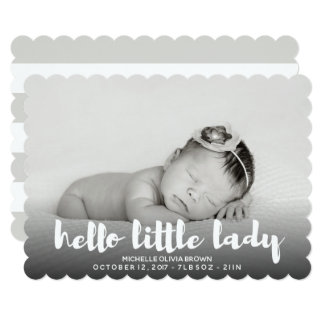 Minimal B\W GREY Hello little baby Photo Birth Card