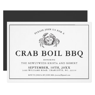 Minimal Backyard Crab Boil Barbecue Invitation