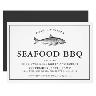 Minimal Backyard Seafood Barbecue Invitation