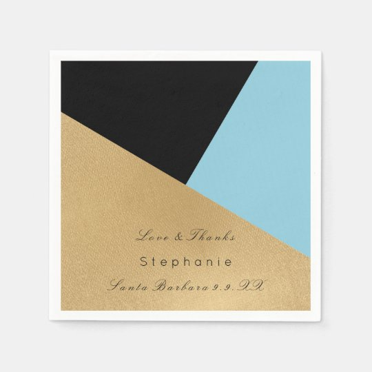 Minimal Black Gold Metal Blue Corporate Birthay Paper Napkin