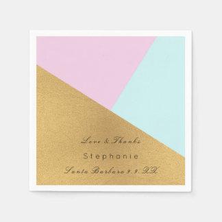 Minimal Black Gold Metal Blue Pastel Pink Tiffany Paper Napkin