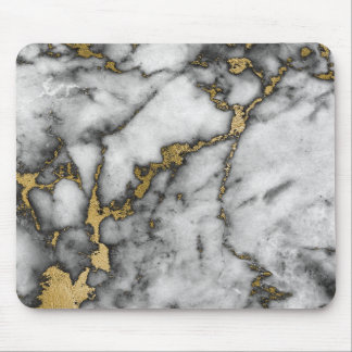 Minimal Black Gray Black Gold White  Marble Mouse Pad