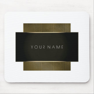 Minimal Black White Gold Company Branding Lux Mouse Pad