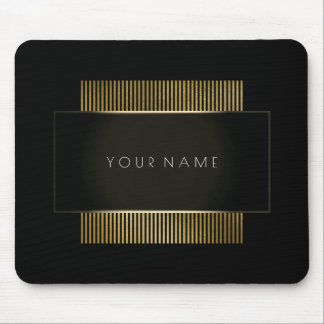 Minimal Black White Gold Company Branding Mouse Pad