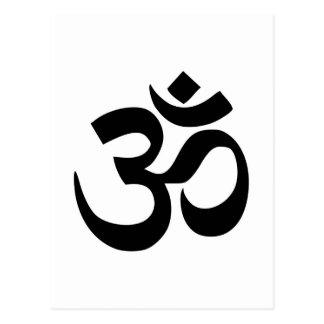 Minimal Black & White Om Symbol Postcard