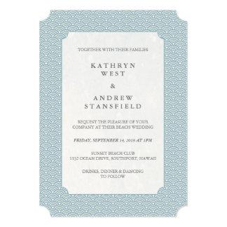 Minimal Blue Small Waves Wedding Invitation
