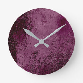 Minimal Burgundy Bordeaux Beetroot Noir Glass Round Clock