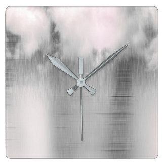 Minimal Clouds Rain Gray Steel Silver Contemporary Square Wall Clock