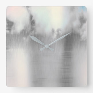 Minimal Clouds Rain Pearly Blush Pink Rose Gold Square Wall Clock