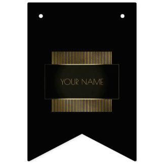 Minimal Company Name Branding Black Gold Luxury Bunting Flags