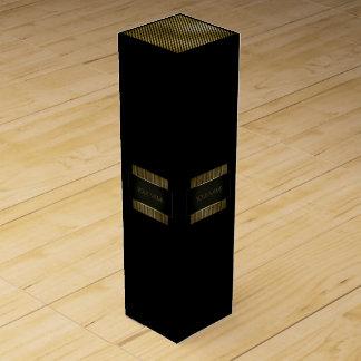 Minimal Conceptual Black Gold Frame Name Branding Wine Gift Box
