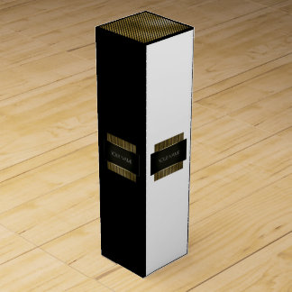 Minimal Conceptual Black White Gold Name Branding1 Wine Box