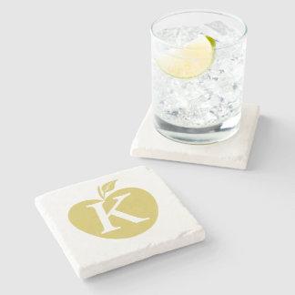 Minimal Cool Yellow Apple Gardener Monogrammed Stone Coaster
