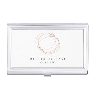 Minimal Designer Scribble Logo in Rose Gold Business Card Holder