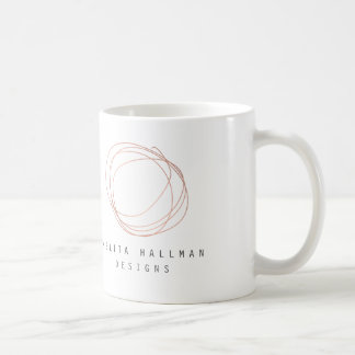 Minimal Designer Scribble Logo in Rose Gold Coffee Mug