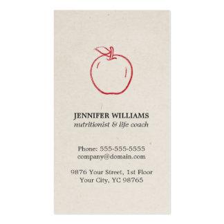 Minimal Elegant Cool Red Apple Nutritionist Business Card