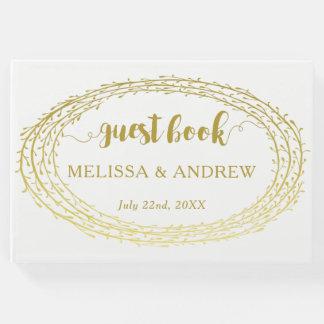 Minimal Elegant Gold Wreath Wedding Guest Book