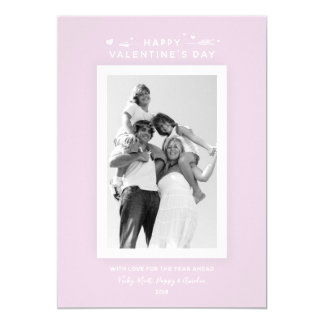 Minimal Elegant Pastel Pink Valentine's Day Photo Card
