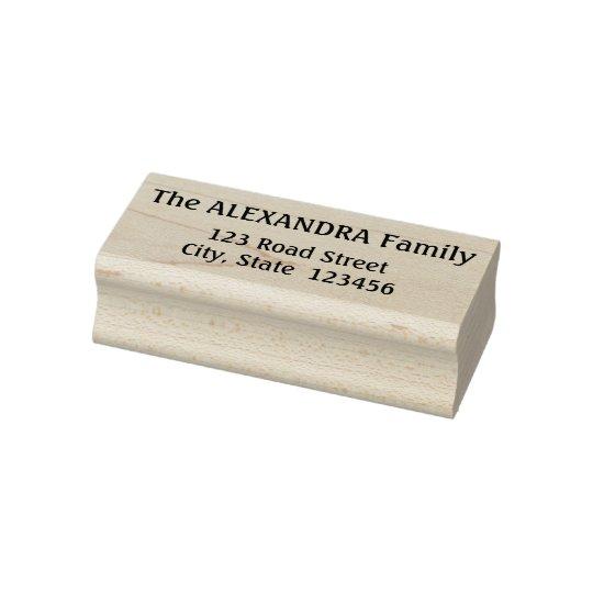 Minimal Family Name Plus Address Rubber Stamp