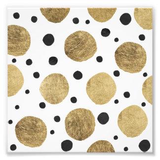 Minimal faux gold polka dots black watercolor photo print