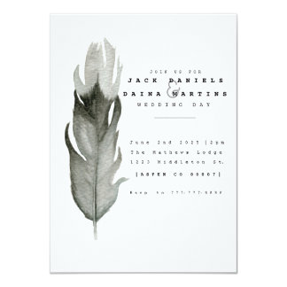 Minimal Feather Watercolor Wedding Invite