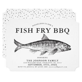Minimal Fish FrY Party Customized Invitation