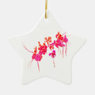 Minimal Floral Print Ceramic Star Ornament
