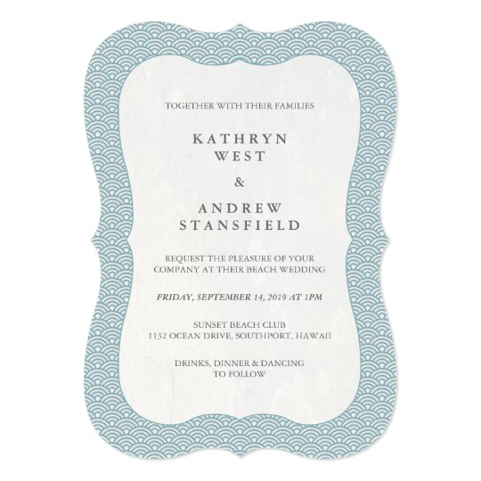 Minimal Formal Blue + White Wave Pattern Wedding Card