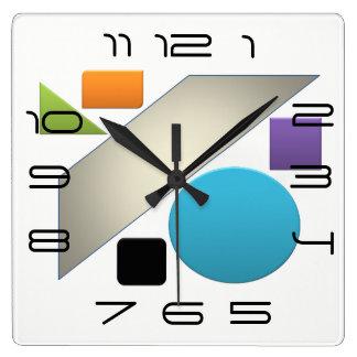 Minimal Geometric Avant-Garde Bright Square Wall Clock