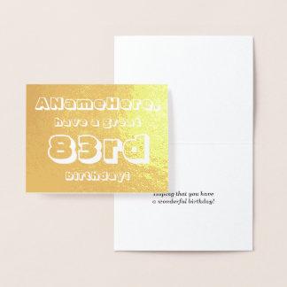 Minimal Gold Foil 83rd Birthday Greeting Card
