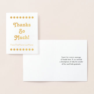 "Minimal Gold Foil ""Thanks So Much!"" Card"