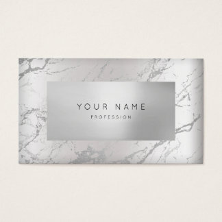 Minimal Gray Marble Appointment Silver 3D VIP Business Card