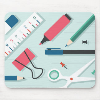 Minimal green stationery mousepad