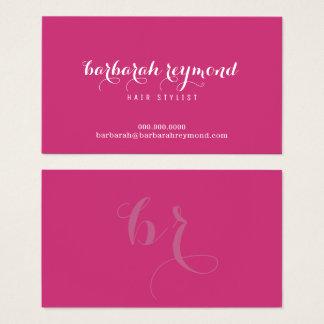 minimal hair stylist (custom profession) fuchsia business card