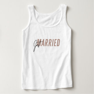 Minimal, hand lettered 'Just Married' Tank Top