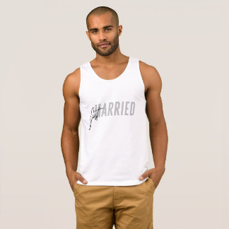 Minimal, hand lettered Just Married Tank Top Grey