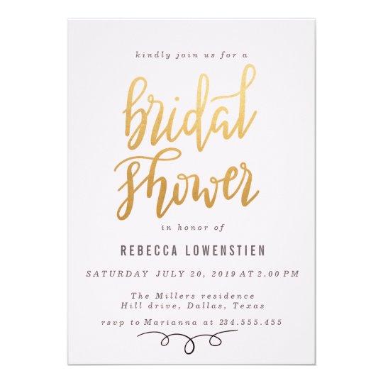 Minimal Handwritten Faux Gold Bridal Shower Script Card