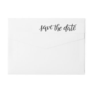 Minimal Handwritten Modern Save The Date Script Wrap Around Label