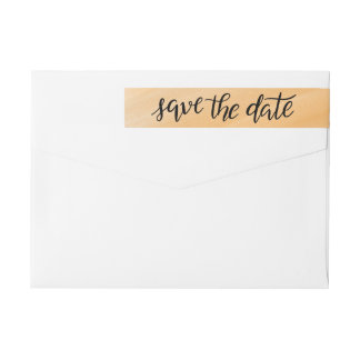 Minimal Handwritten Modern Save The Date Yellow Wrap Around Label
