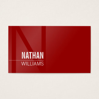 MINIMAL initial simple modern cool dark rich red Business Card