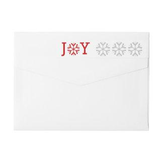 Minimal Joy and snowflake red, gray Christmas Wraparound Return Address Label