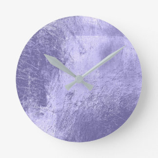 Minimal Lavender Purple Amethyst Plum Glass Round Clock
