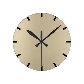 Minimal Lemon Sepia Beige Ombre Black Urban Round Clock