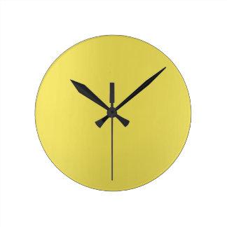 Minimal Lemon Yellow Mustard Ombre Minimal Round Clock