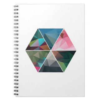 Minimal Low-Poly Hexagon Spiral Notebook
